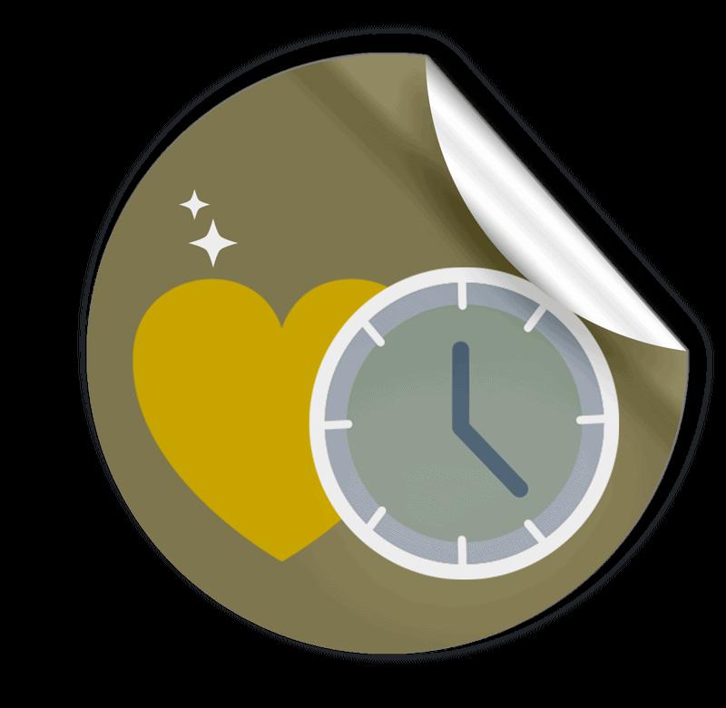 teamKMU.digital Sticker mot Herz und Zeit für Webdesign
